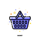 Icon of shopping basket for retail and consumerism concept. Flat filled outline style. Pixel perfect 64x64. Editable stroke