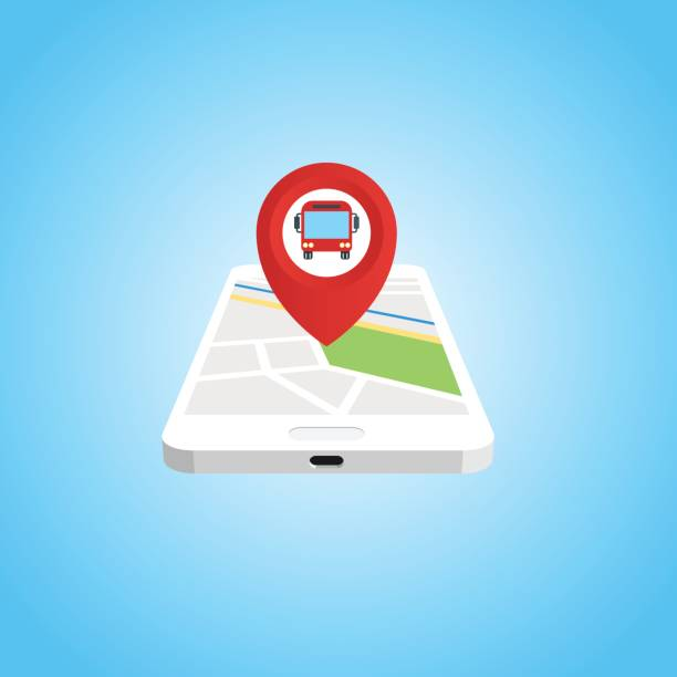Icon of smarthpone and map pin with bus inside. vector art illustration