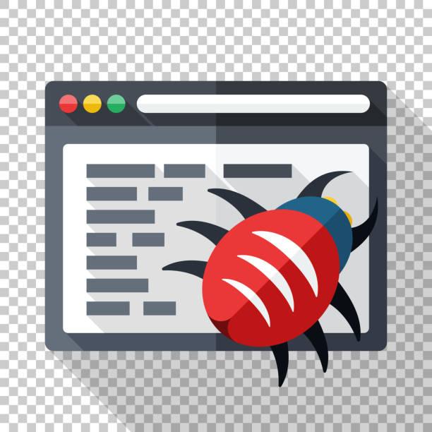 Icon der Software mit Fehler im Programmcode. Vektordarstellung im flachen Stil mit langem Schatten auf transparentem Hintergrund – Vektorgrafik