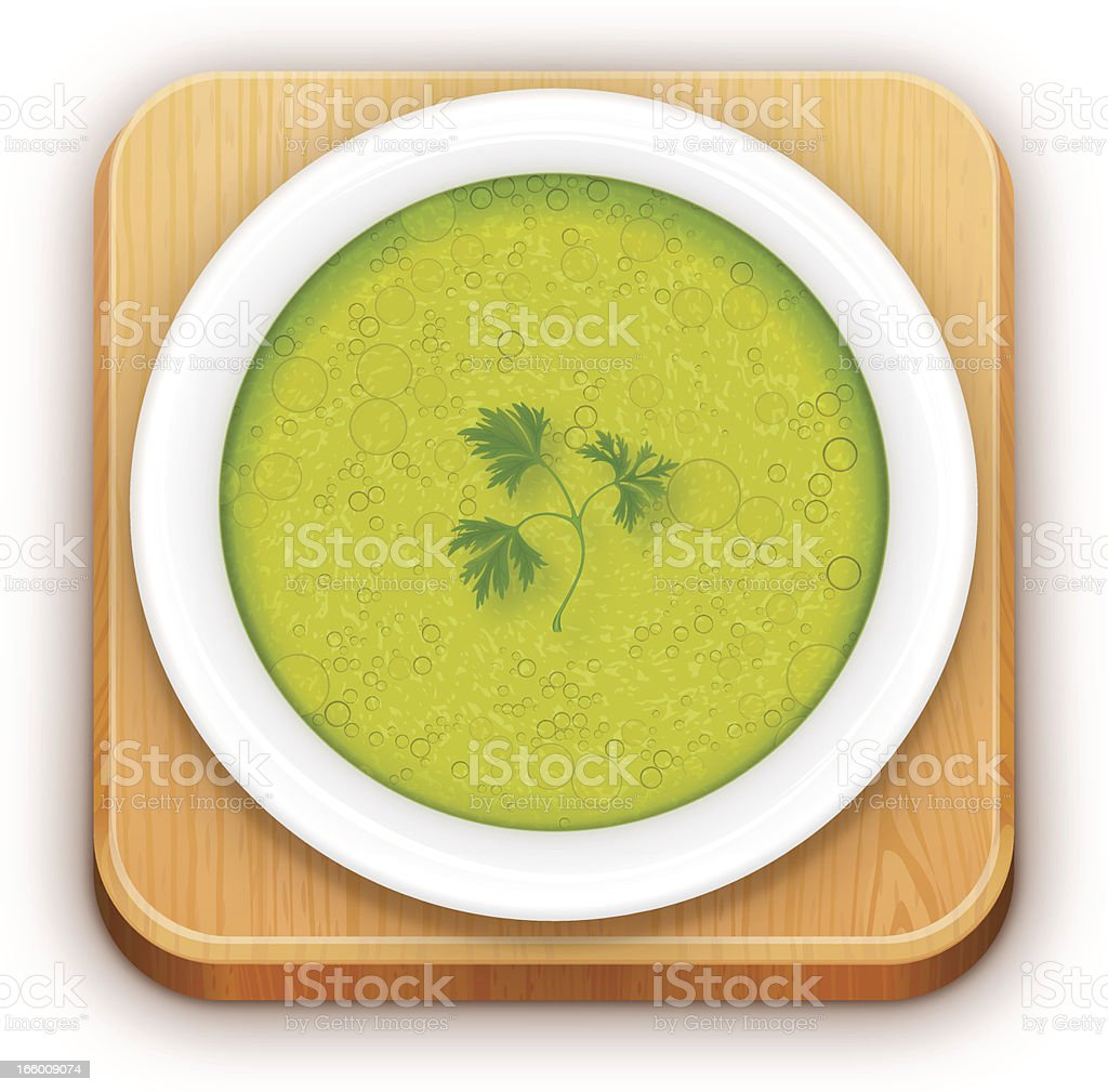 icon of soup bowl on plate and desk royalty-free stock vector art