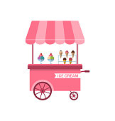 Icon of Stand  Ice Creams, Sweet Cart Isolated on White