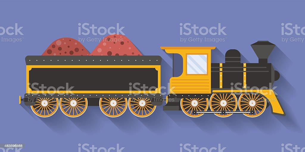 Icon of Steam Locomotive or Puffer with the wagon vector art illustration