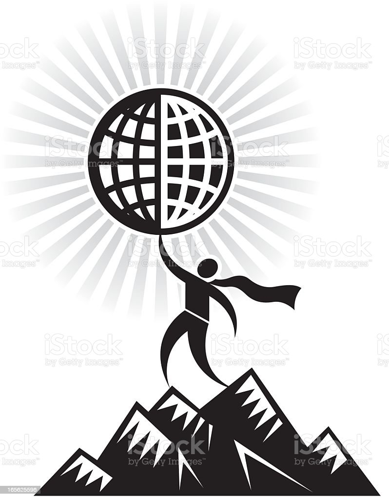 Icon of Superhero climbing mountain royalty-free stock vector art