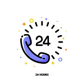 Icon of telephone handset with number 24 as 24-hours open customer service or express delivery for help and support concept. Flat filled outline style. Pixel perfect 64x64. Editable stroke