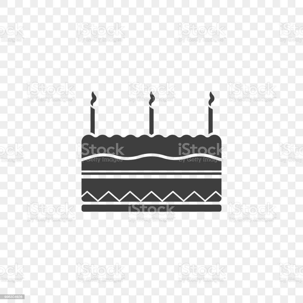 Icon Of The Birthday Cake With Three Candles At The Top Vector