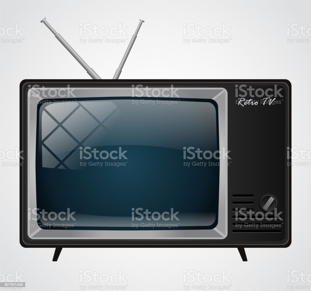 Icon of the good old retro TV without remote control vector art illustration