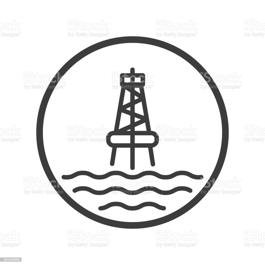 Icon Of The Marine Oil Station In The Round Frame Stock Vector Art ...