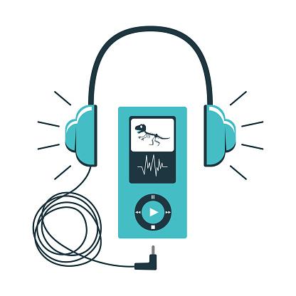 Icono de la audioguía del Museo. Auriculares con un cable conectado a un gadget con botones de control. Acompañamiento de audio en el Museo. Ilustración vectorial en combinación de colores azules. aislado en blanco.