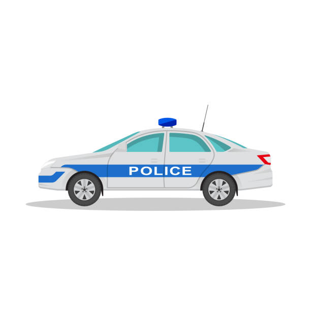 Icon of the police car Icon of the police car with a shadow on the isolated white background. The vehicle in flat style. Design element. Vector illustration. police car stock illustrations