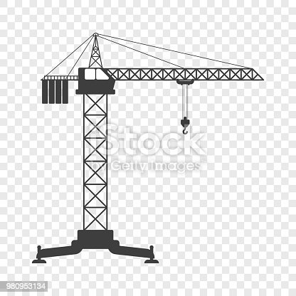 Icon of the tower crane. Vector illustration on transparent background.