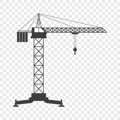 Icon of the tower crane. Vector illustration on transparent background