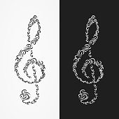 Icon of the treble clef  from the forms of ornate ornament