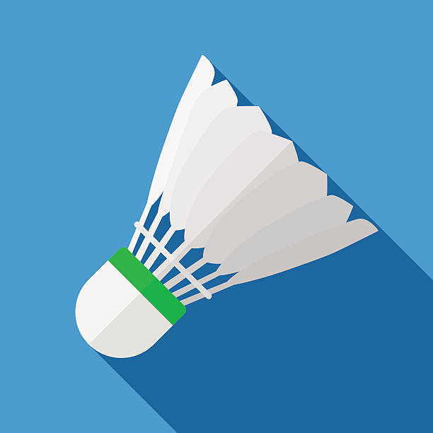 Icon of toy shuttlecock for badminton in flat design Vector illustration. Icon of toy shuttlecock for badminton from bird feathers in flat design with shadow effect shuttlecock stock illustrations