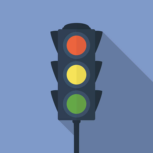 icon of traffic light. flat style - stoplights stock illustrations, clip art, cartoons, & icons