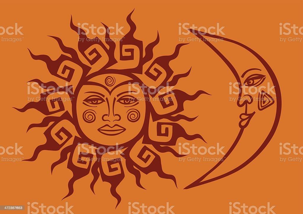 Ilustración De Tribal De Icono De Sol Y La Luna Con Forma De