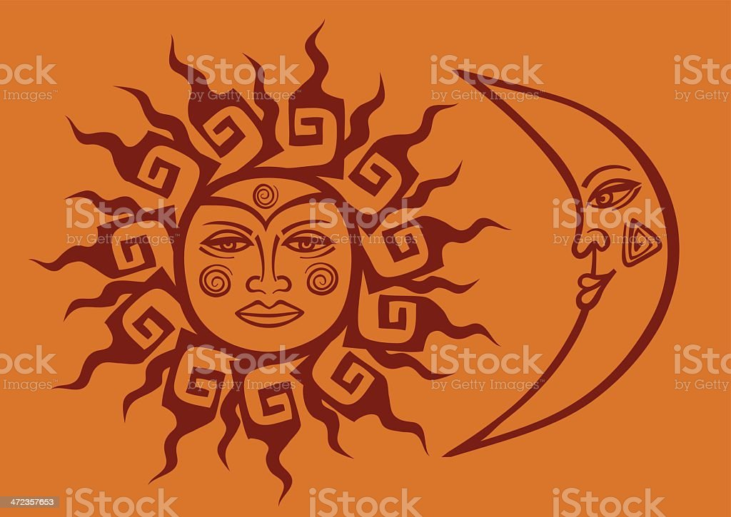 Icon of tribal sun and crescent moon vector art illustration
