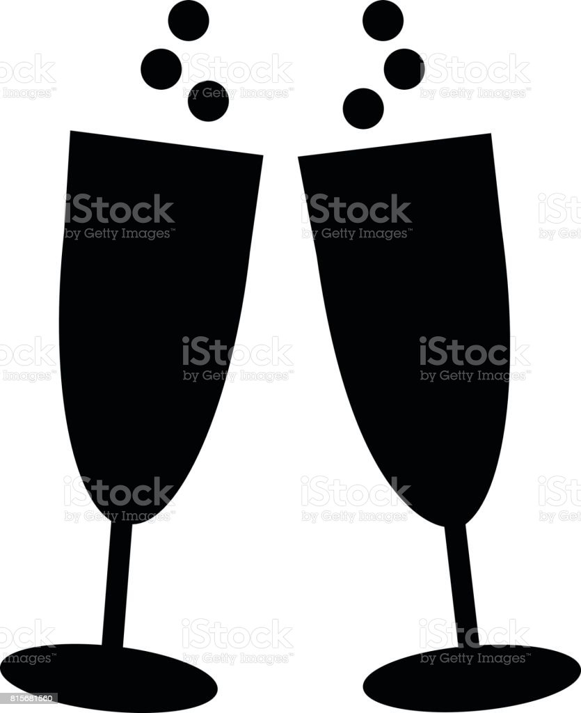 Icon of two glasses of champagne vector art illustration