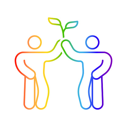 Icon of two men holding a sprout. LGBT community symbol. Linear image of people with rainbow colored contour coloring. Isolated vector on white background.