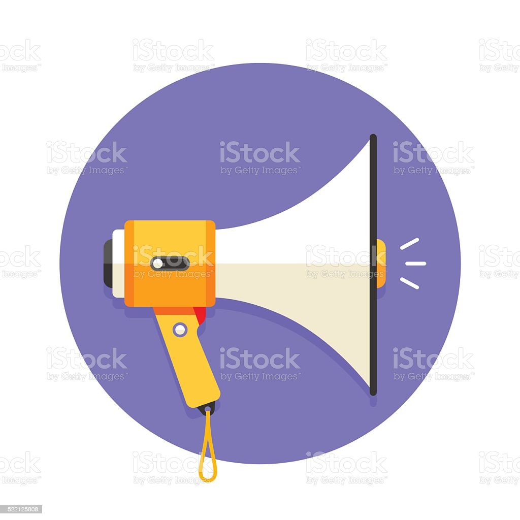 Icon of white and orange megaphone or mouthpiece vector art illustration
