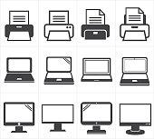istock icon office equipment  Fax ,laptop,printer 500472299