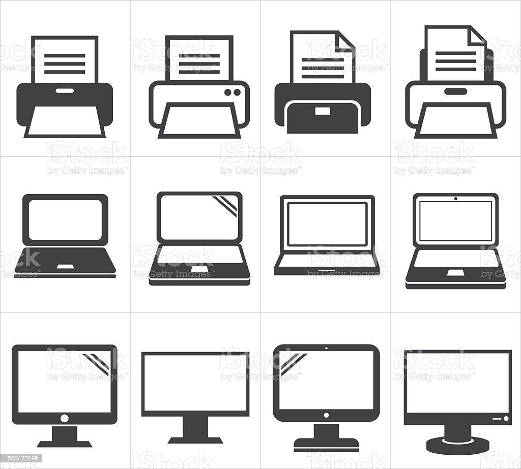icon office equipment  Fax ,laptop,printer vector art illustration
