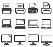 icon office equipment  Fax ,laptop,printer
