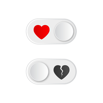 Icon On and Off toggle switch button with red heart and broken. Happy Valentines day. Like button.