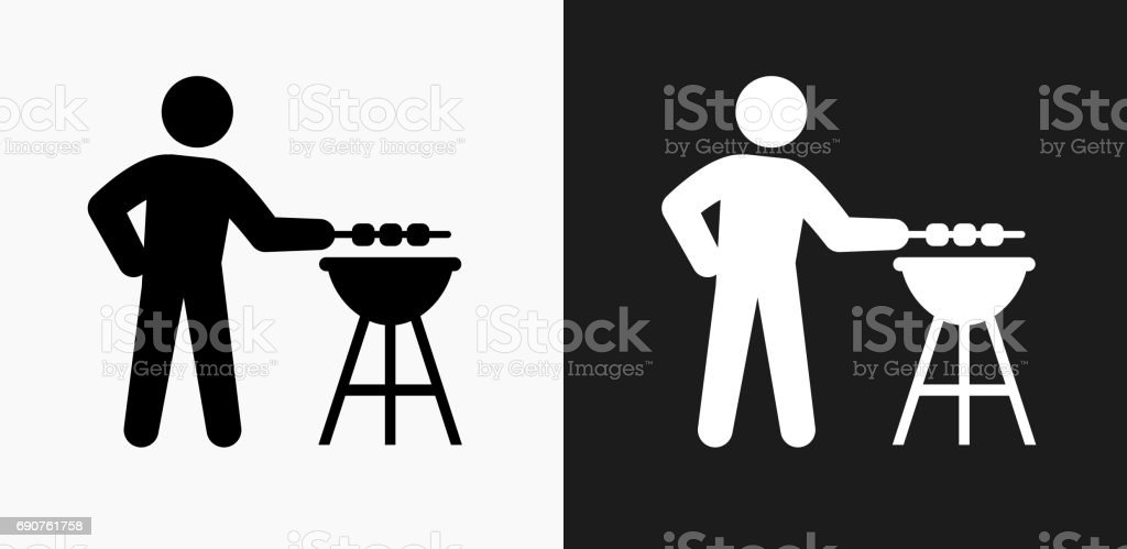 BBQ Icon on Black and White Vector Backgrounds vector art illustration