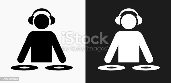istock DJ Icon on Black and White Vector Backgrounds 695313644
