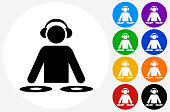 DJ Icon on Flat Color Circle Buttons. This 100% royalty free vector illustration features the main icon pictured in black inside a white circle. The alternative color options in blue, green, yellow, red, purple, indigo, orange and black are on the right of the icon and are arranged in two vertical columns.