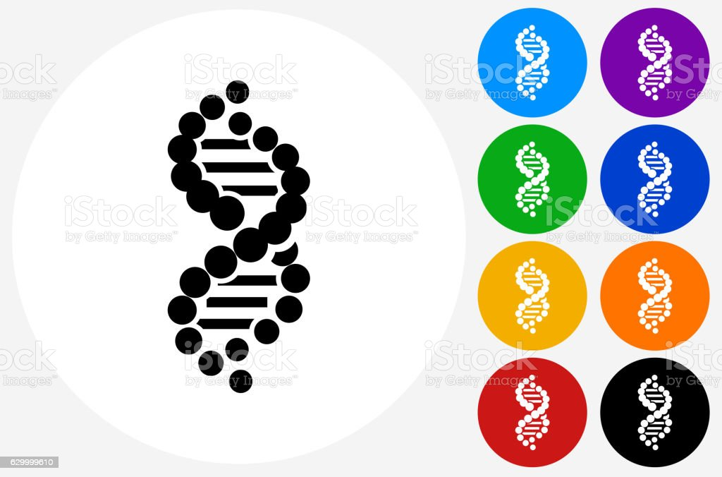 DNA Icon on Flat Color Circle Buttons vector art illustration