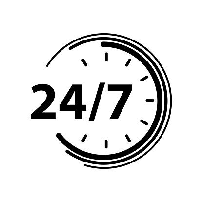 24/7 icon on white background