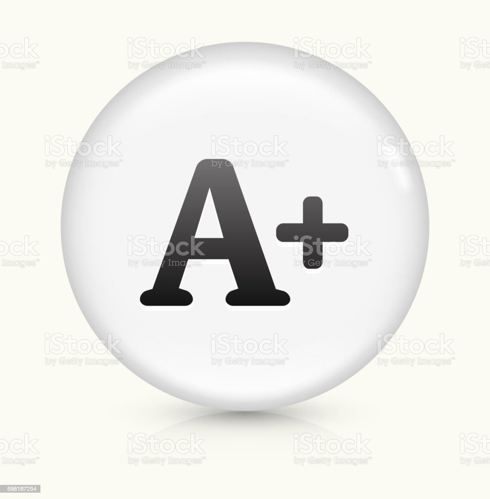 +A icon on white round vector button vector art illustration