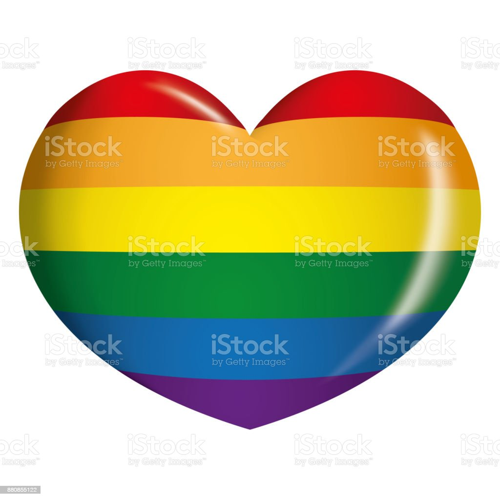 Icon Or Symbol Of A Rainbow Heart Lgbt Community Gay Flag Ideal For