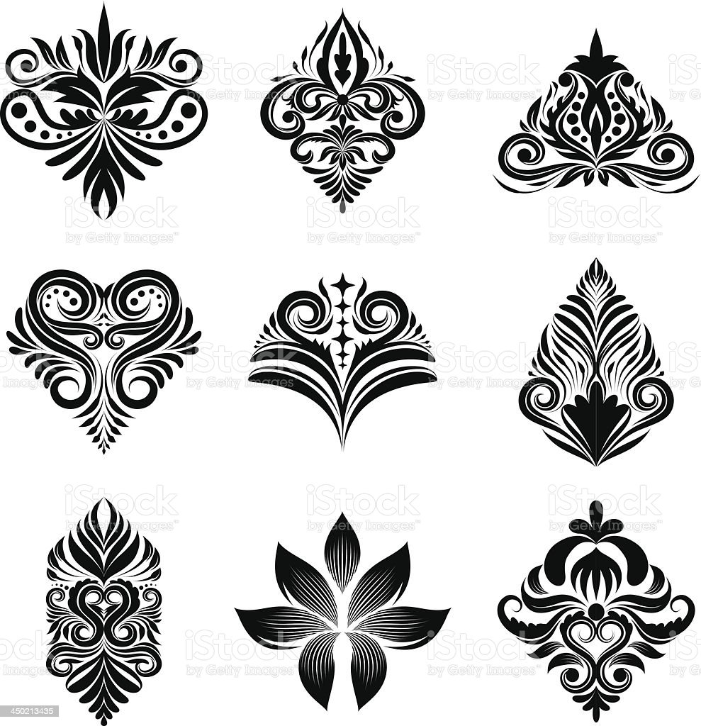 Icon Ornamental Set vector art illustration