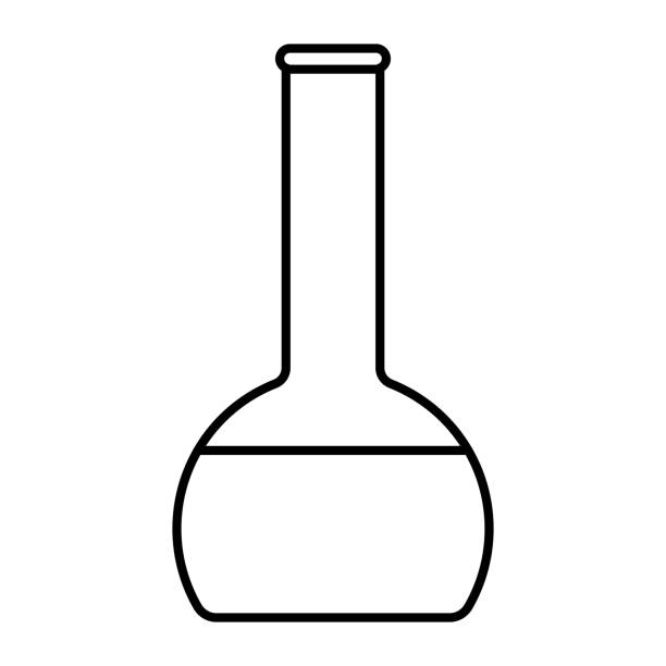 Icon Outline Bottle isolated on white background. Magic Potion in Flask. Vector illustration for your design, game, card. vector art illustration