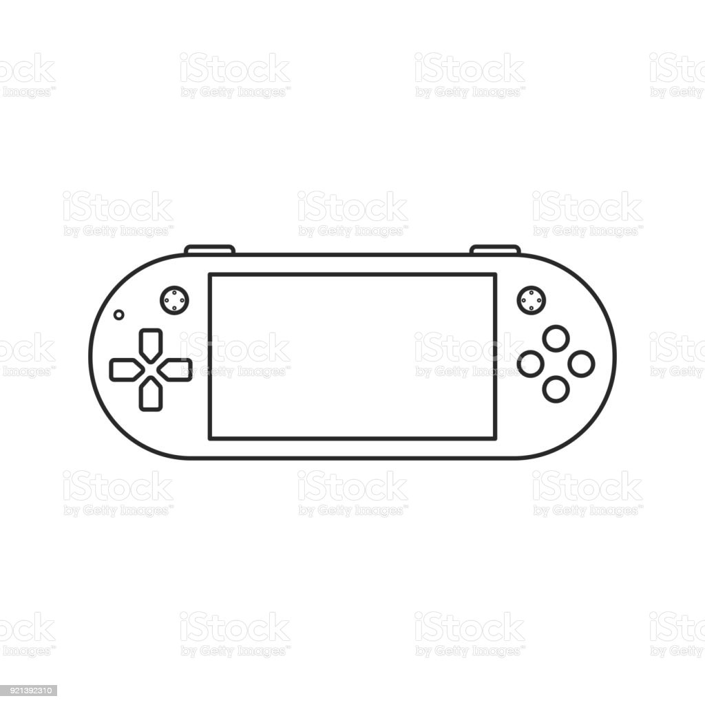 Icon Outline Game Console With Gamepad Button Stock Vector Art - Video game outline