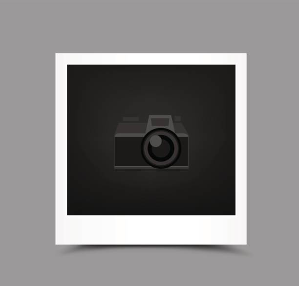 icon paper photo Retro paper photo icon with shadow on gray background. Empty template blank to insert your photography or picture. Camera symbol for default show inserting stock illustrations