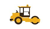 Icon paver. Men at work. Construction machinery. Vector illustration. Sleek style.
