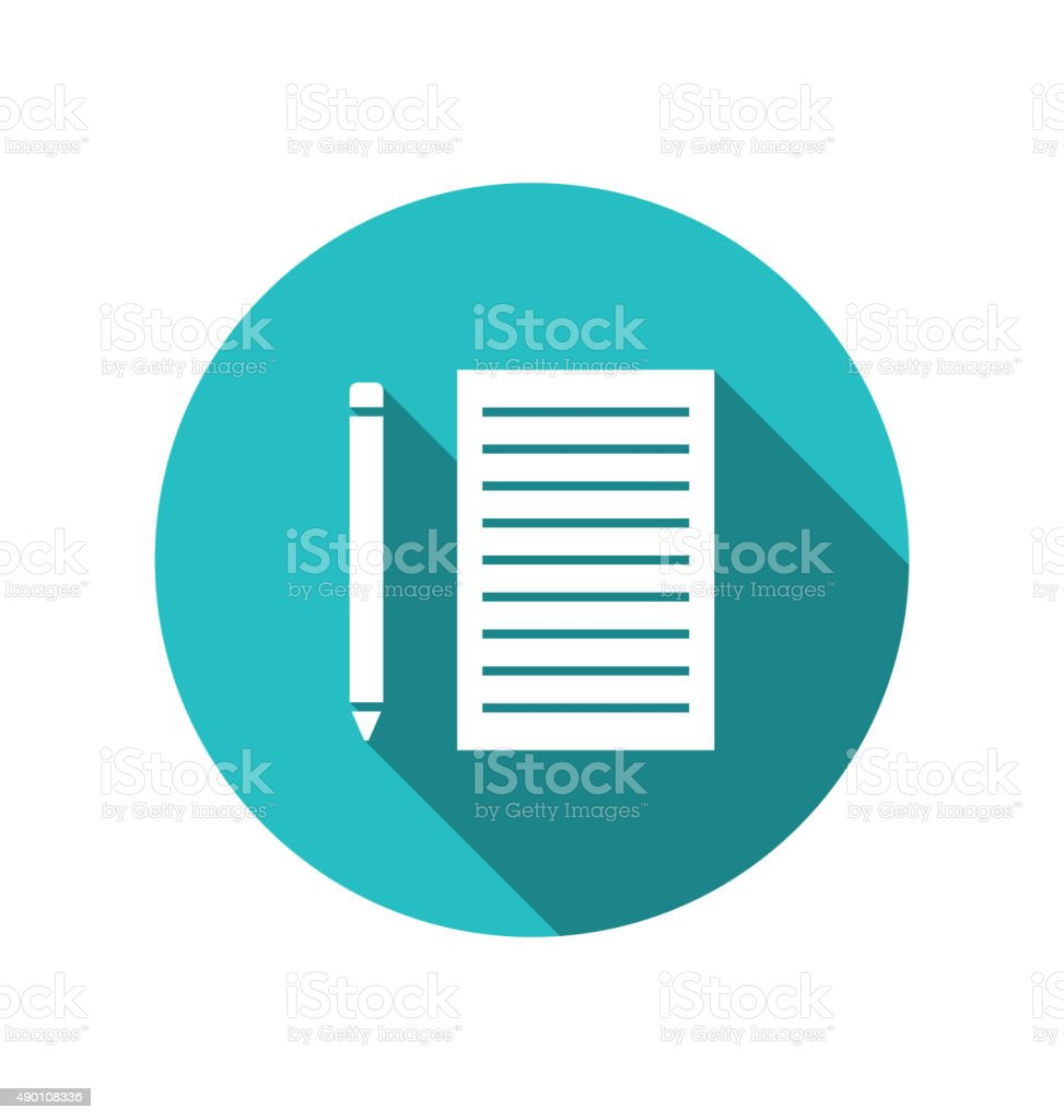 Icon pencil paper sheet cuted on round blue backdrop vector art illustration