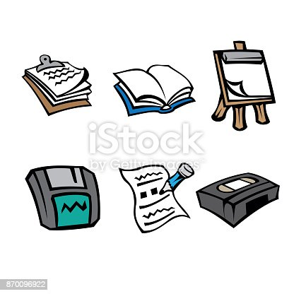floppy office floppy hat icon pictogram office supplies clipboard book flipchart floppy disk paper tape and pencil ideal for catalogs informational institutional material
