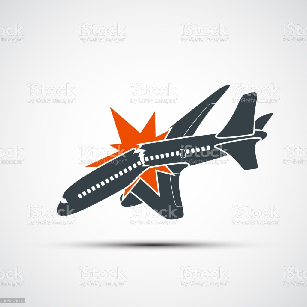 Icon plane crash. Terrorist act in the air. vector art illustration