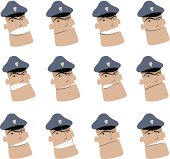 Icon ( Emoticons ) - Policeman in various moods ( Mad, Smiling, Sadness )