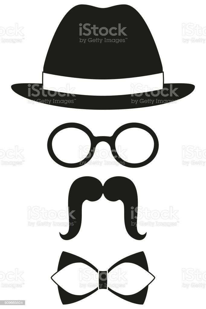 739a5c08 Icon poster man father dad day avatar element set hat glasses mustache bow  tie silhouette.