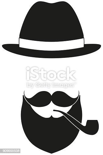istock Icono cartel hombre padre papá día avatar los elementos set sombrero  bigote fumar tabaco pipa f8d6d44dcb4