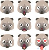 Vector Icon ( Emoticons ) - Pug Dog in various moods.