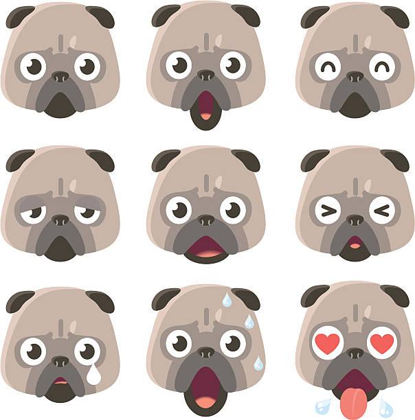 アイコン(emoticons )-パグの様々な雰囲気 - 興奮の絵文字点のイラスト素材/クリップアート素材/マンガ素材/アイコン素材