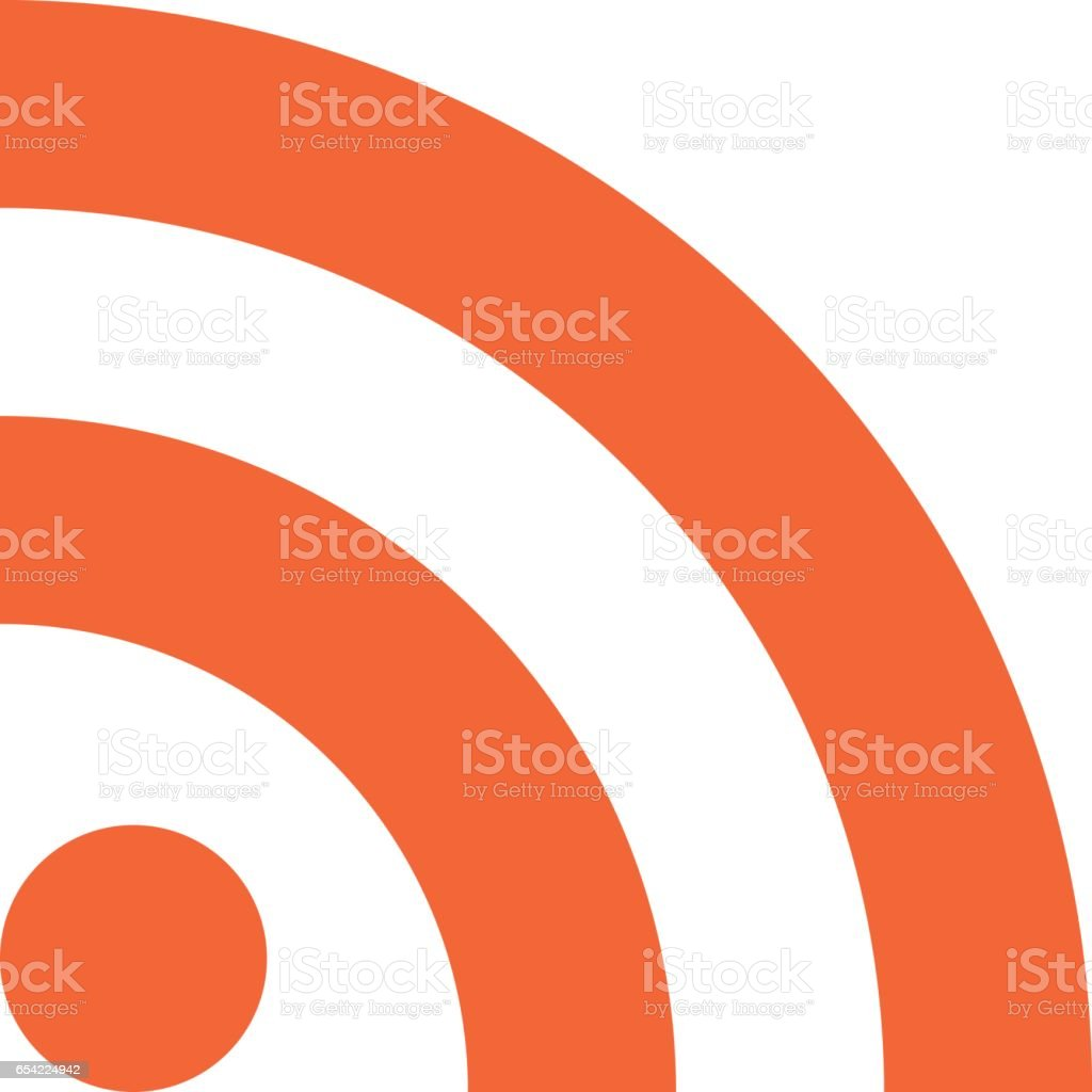 RSS icon really simple syndication sign flat style vector art illustration