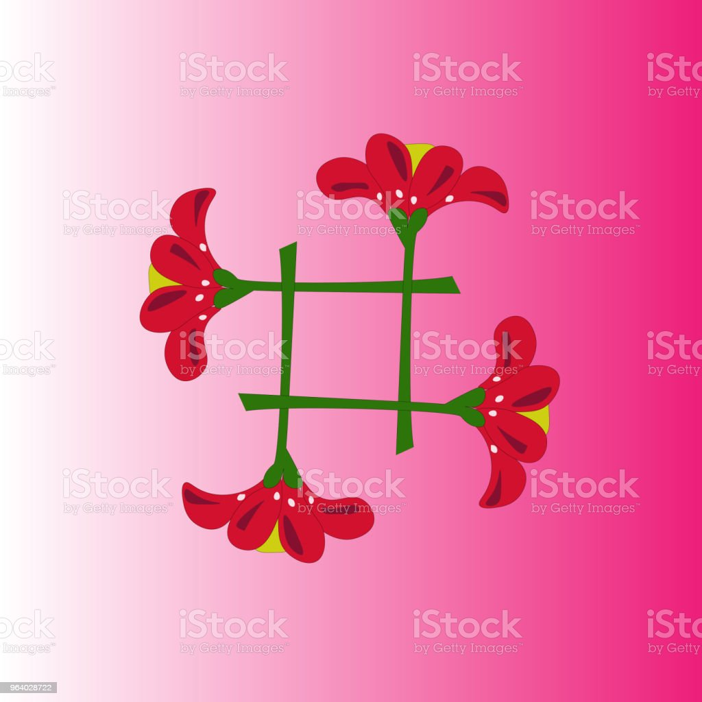 icon red flower design - Royalty-free Abstract stock vector