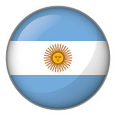Icon representing button Argentina flag. Ideal for catalogs of institutional materials and geography